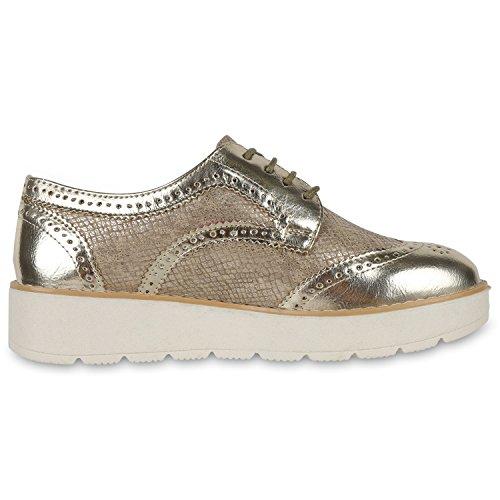 Japado - Zapatos de vestir brogues Mujer dorado metálico
