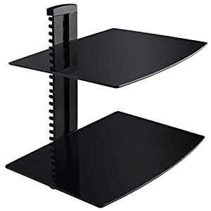 Super buy 2 Tier 2 Dual Glass Shelf Wall Mount Bracket Under TV Component Cable DVR