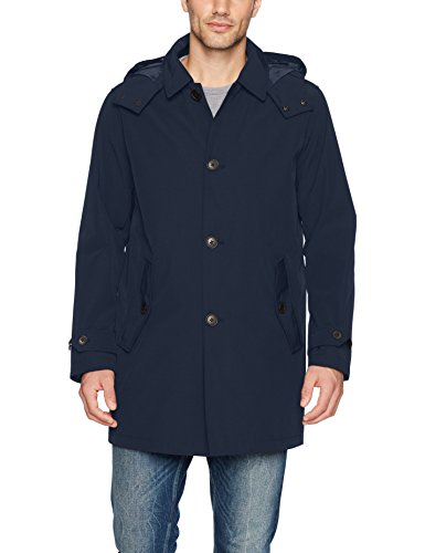 Tommy Hilfiger Men's Hooded Rain Trench Coat with Removable Quilted Liner, Navy, X-Large
