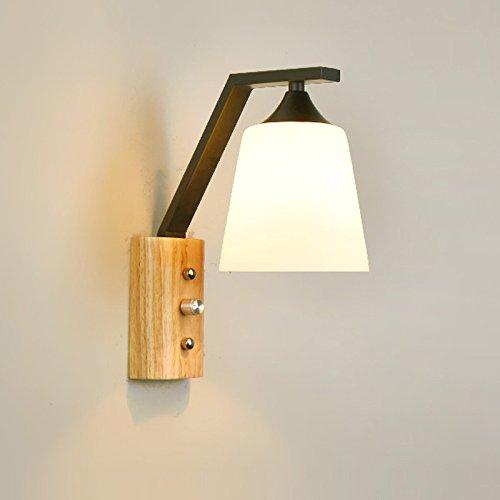 Self-My Lampada Da Parete Legno Nordico Moderno Minimalista Bedroombedside Creativi Corridoio Balcone In Legno Massiccio, Sezione Nero + Caldo