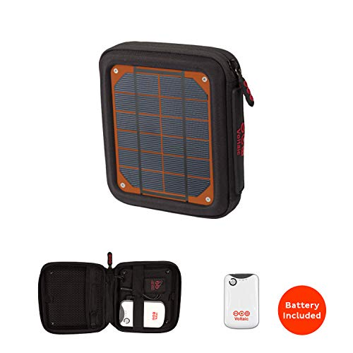 Voltaic Systems Amp Portable Rapid Solar Charger with Battery Pack (Power Bank) 4,000mAh & 2 Year Warranty | Powers Phones Compatible with iPhone, Tablets, USB, More | Waterproof - Orange ()