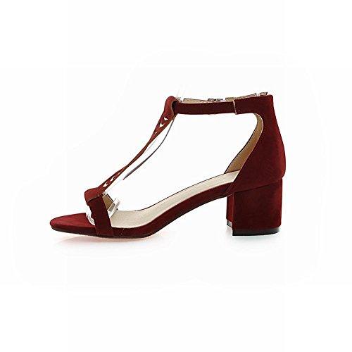 Charm Foot Womens T strap Open Toe Mid Heel Sandal Wine Red TwhfCL8