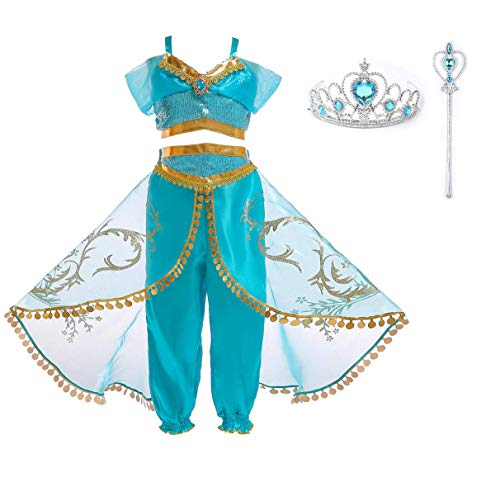 Arabian Princess Aladdin Dress up Costume Girls Sequined Jasmine Cosplay Kids Halloween (Arabian Princess+Ornament, 6 Years) -