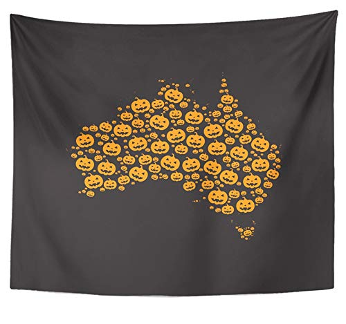Emvency Tapestry Polyester Fabric Print Home Decor Map of Australia Filled with Halloween Pumpkin Heads Different Sizes on Black Wall Hanging Tapestry for Living Room Bedroom Dorm 50x60 inches