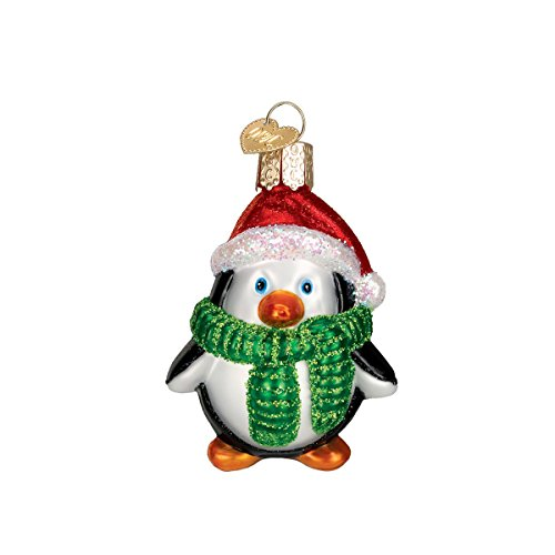 Old World Christmas Glass Blown Ornament with S-Hook and Gift Box, Christmas Collection (Playful Penguin) Blown Glass Penguin Ornament
