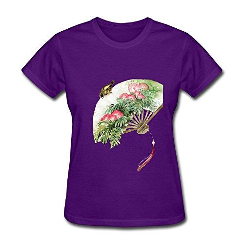 Grey Fan Pattern Elegant Autumn Or Winter Women's Short Sleeve Shirts M Purple