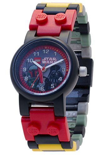 - Lego 8020813 Star Wars Boba Fett and Darth Vader Kids Buildable Watch with Link Bracelet and Minifigures | Black/red | Plastic | 25mm case Diameter| Analog Quartz | boy Girl | Official