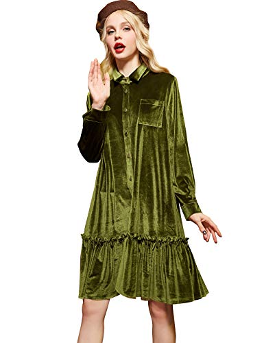 (Elf Sack Women Velvet Dress, Long Sleeve Swing Cocktail Party Dress, Hooed Sweatshirt Dress with Ruffle Hem )