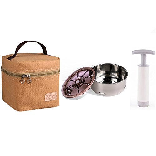 Seed Portable Stainless-steel Recyclable Food Storage Containers with Leak-proof Lids Vacuum Pump and Insulated Lunch Bags 15.5oz