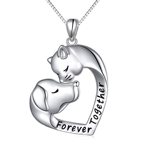 Pendant Cat Head - S925 Sterling Silver Engraved Together Forever Jewelry Dog and Cat Head Love Heart Pendant Necklace Gift for Women Girls Wife