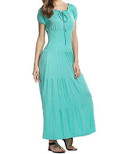 Meaneor Women's Cap Sleeve Smocked Waist Peasant Renaissance Summer Maxi Dress Light Green S