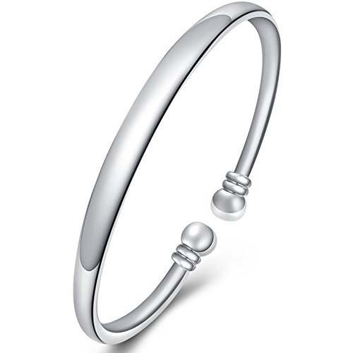 5eaf10635 BEMI Elegant 925 Sterling Silver Plated Double Head Bangle Bracelet  Polished C Cuff Bracelet for Woman