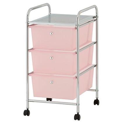 Urban Shop Plastic 3 Drawer Rolling Organizer Storage Cart, Pink