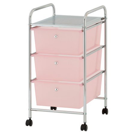 Drawer Rolling Organizer Storage Cart, Pink ()
