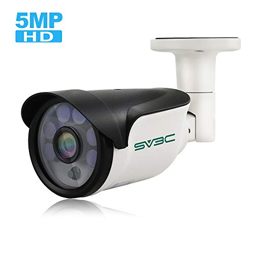 SV3C IP POE Camera Security Outdoor 5 Megapixels Super HD 2592x1944 H.265 Waterproof Cam Onvif IR Night Vision Motion Detection (Hd Cloud Ip Camera Megapixels Waterproof Camera)