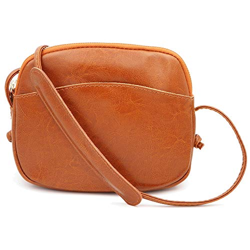 Women Leather brown Genuine Handbag Phone Shoulder for Small Realleather Purse Bag Crossbody Cell wOx7vOUqd