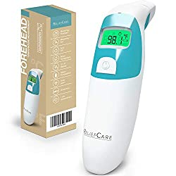 Forehead and Ear Digital Infrared Thermometer: Head Thermometer with Fever Alarm - Instant Read Medical Temperature Thermometers for a Baby, Infant, Toddler, Child or Adult - FDA and CE Approved