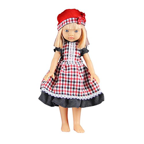 Hometom Girls Doll, 13'' Beautiful Checker Clothes Lovely Girl Doll Baby Doll Realistic Reborn Dolls Toys With Clothes (13' Cloth Doll)