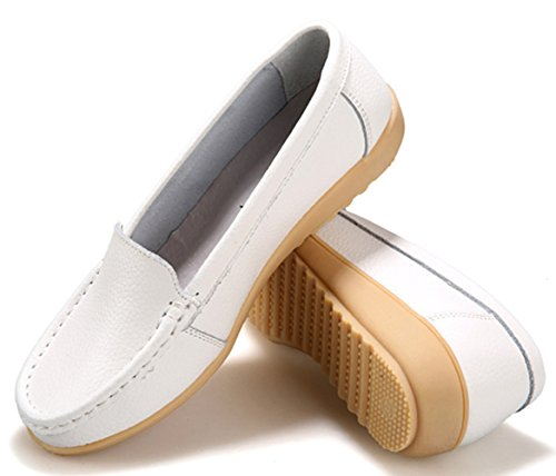 Loafer THEZX White Genuine Shoes Boat Casual Shoes Leather Driving Flats Women's Yx6qwUxa