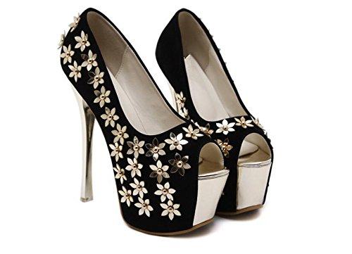 LDMB Chaussures Peep Toe Court Chaussures à talons hauts à talons hauts de 16Cm , black , 39