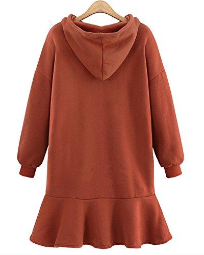 Mujeres Dress Vestidos Maxi Pullover Tops Verano Largos Casuales Suéter Rojo Camiseta óxido qnSC6qW