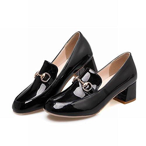 Latasa Dames Dikke Hakken Slip Loafers Schoenen Zwart