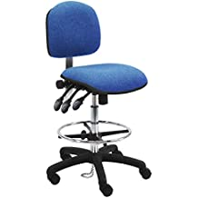 """BenchPro Deluxe Fabric ESD Chair with 18"""" Adjustable Footring. Nylon Base, 24""""-34"""" Height Adj. 450 lb. Capacity, 3 Lever"""