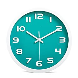SANNIX Wall Clock with Silent Non-Ticking Night Lights for Indoor Kitchen of Large Number Battery Operated-Teal,12inch