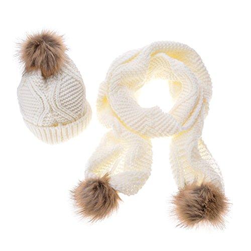 Jelinda Womens Soft Cable Knit Beanie Hat Skully w Pom pom White (Large Image)