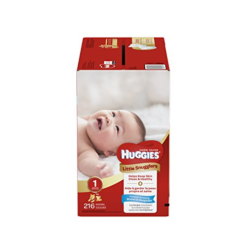 HUGGIES Little Snugglers Baby Diapers, Size 1, 216 Count, ECONOMY PLUS (Packaging may Vary) by HUGGIES