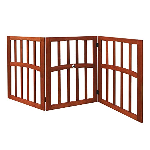 """Wooden Paw Print Accent Pet Dog Gate - Stand Alone Tri-Fold 24"""" Tall 52"""" Wide"""