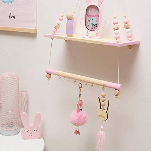 HAI+ Rope Hanging Floating Shelves, Wall Hanging Rope Shelves for Living Room, Bedroom, Bathroom and Kitchen (Pink) ()