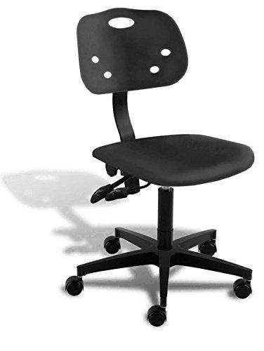 "BioFit Chair, ArmorSeat, Polished Aluminum Base, 25""- 30"", Black"