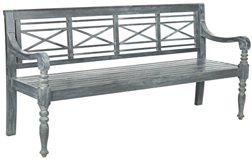 Safavieh Patio Collection Martin Adirondack Acacia Wood Bench, Ash Grey