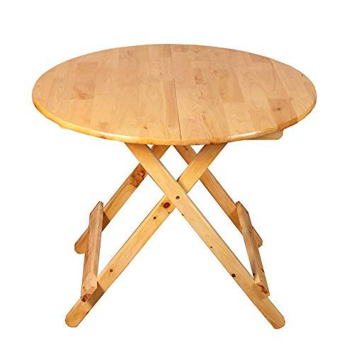 AOLI Mesa plegable de madera de cedro maciza, redonda mesa de comedor, escritorio plegable portatil, 79Cmx65Cm,99cm * 70cm