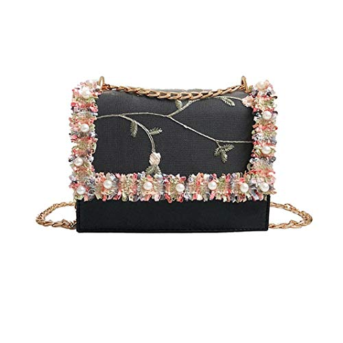 (Crossbody Bags for Women,iOPQO Fashion Pearl Lace Tote Handbag Shoulder Bag)