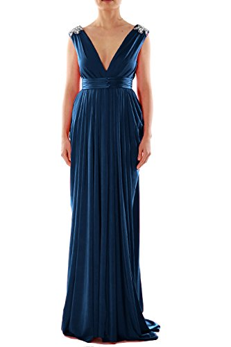 MACloth Women V Neck Long Jersey Prom Dress Wedding Party Formal Evening Gown Azul Marino Oscuro