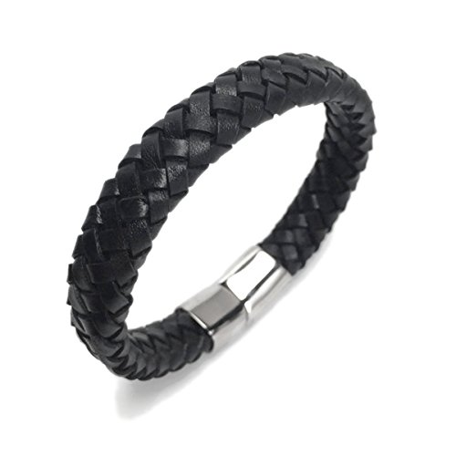 Braided Black Leather Bracelet (Wide Braided Black Leather Bracelet Mens Womens Stainless Steel Magnetic Clasp (7.5 Inch))