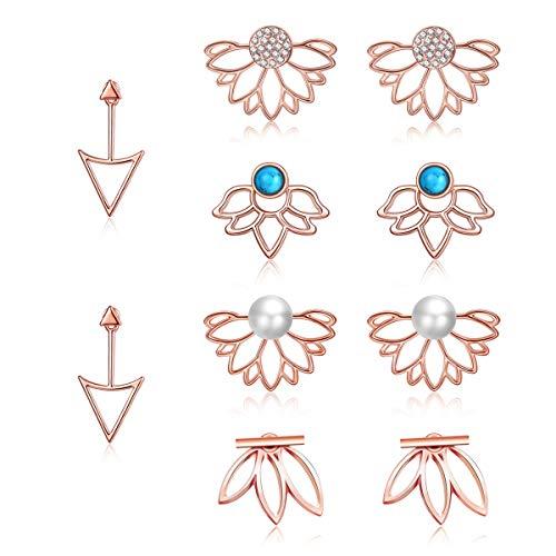 - JieyueJewelry 5 Pairs Ear Jackets for Women Girls, Lotus Flower Earring Jackets Crystal Simple Chic Earrings Front Back Stud Earrings Set Women Fashion Jewelry (Rose Gold-3)