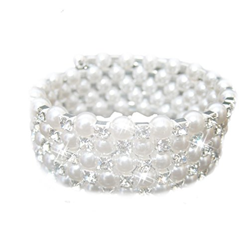 joylive Five Rows Fauxl Crystal Rhinestone Pearls Accessory Bracelet For Party Evening (Romance Pearl Bracelet)