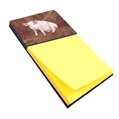 Caroline's Treasures Pig at The Barn Door Refillable Sticky Note Holder or Postit Note Dispenser, 3.25 by 5.5