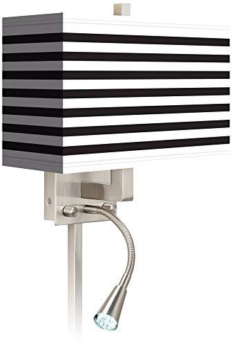 Black Horizontal Stripe LED Reading Light Plug-in Sconce - Giclee Gallery