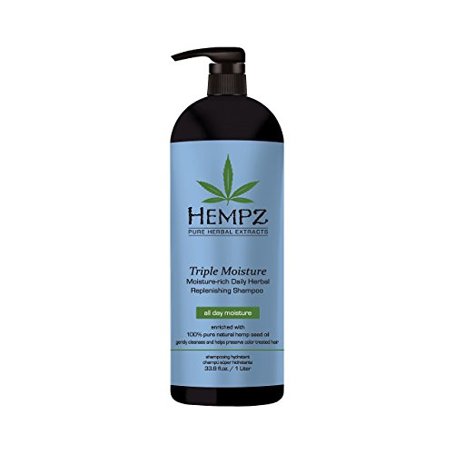 Hempz Vitamins (Hempz Triple Moisture-Rich Daily Herbal Replenishing Shampoo, Pearl Blue, Enchanted Grapefruit, 33.8 Fluid Ounce (1 Liter))