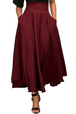 Vanbuy Women's High Waist Pleated Long Skirt Front Slit Belted Midi Skirt with Pockets