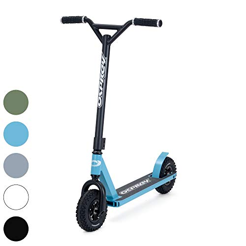 Osprey Dirt Scooter with Off Road All Terrain Pneumatic Trail Tires - Sky Blue - Offroad Scooter for Adults or Kids