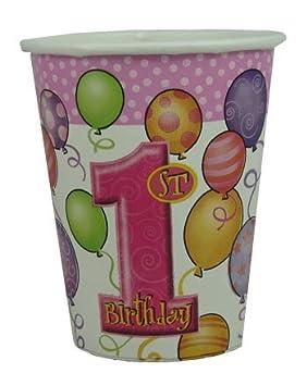 Para primer cumpleaños de niña 9oz Taza - Pack de 24: Amazon ...