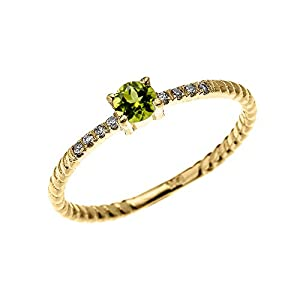 Amazon 10k Yellow Gold Dainty Diamond and Solitaire Peridot Rope Design Stackable Proposal