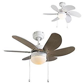 QAZQA Modern Deckenventilator Mit Beleuchtung Fresh 30  Weiß/Innenbeleuchtung / Wohnzimmer/Schlafzimmer / Küche