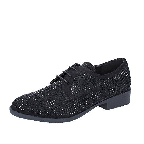 Oxford Nero Francesco Shoe Classiche Camoscio Milano Strass Donna wqBR6Hg
