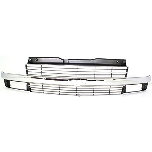 Grille for Chevrolet Astro 95-05 Painted-Silver W/Chrome Center Bar W/Composite Headlight